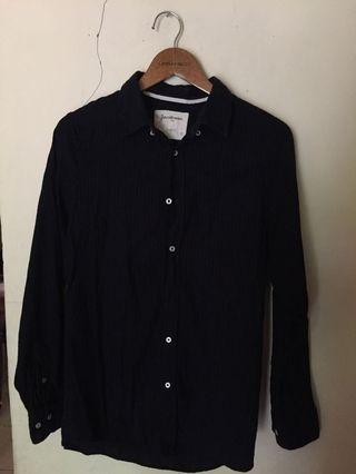 Kemeja Hitam stripe shirt stradivarius h&m pull&bear
