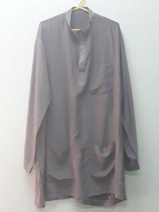 Gent's Male Grey Baju Melayu Cekak Musang Large