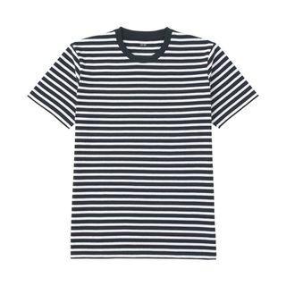 Uniqlo 男裝 水洗條紋T恤 (短袖) 藍條白底 S號 185704
