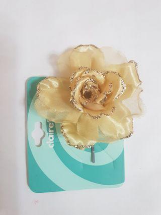 漂亮玫瑰花夾,全新,做工精緻花朵形象