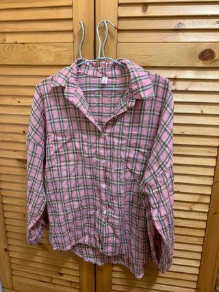 粉格子襯衫