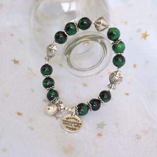 新純銀手鍊‼️ 綠虎眼石太美了 要想生活過得去 身上總得帶點綠 招財 辟邪 擋煞氣🍀🍀🍀 按照手圍訂製 🚄