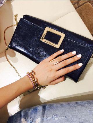 「Bellavita貴婦百貨購入」RV深藍壓紋皮革包包