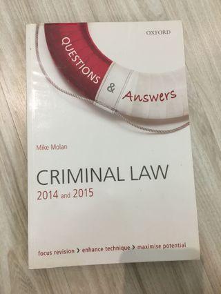 (AUTHENTIC) Criminal Law Q&A (Oxford)