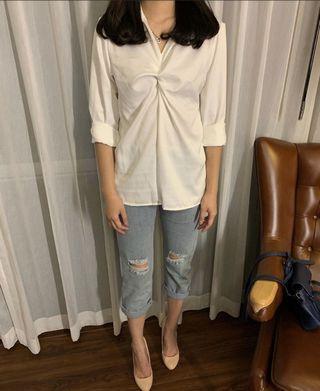 White blouse satin v neck top po bangkok bkk import hem putih