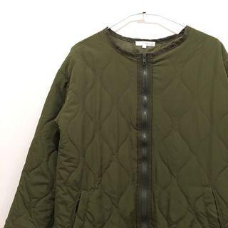 日本古著🇯🇵軍綠色絎縫內裡大衣外套 liner jacket 尼龍材質 似M65 拉鍊 橄欖綠 無領軍裝外套 可搭工裝