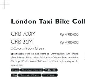 London Taxi Bike Collection Black