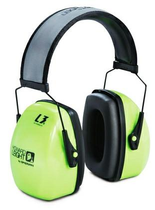 Howard Leight by Honeywell 1013941 L3HV Hi-Visibility Earmuffs, Reflective Headband, 30NRR, Green/Black