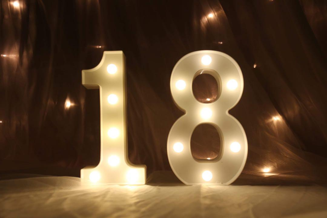 """18"" Number LED Light Box ( For rental )"