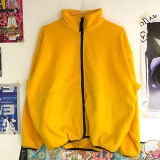 黑黃色古著刷毛寬版立領外套 抓絨 毛料外套