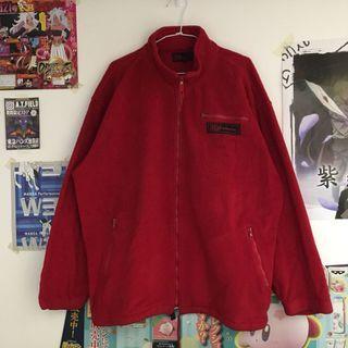 日本古著🇯🇵MD抓絨暗紅色古著寬版刷毛外套 拉鍊 毛料外套
