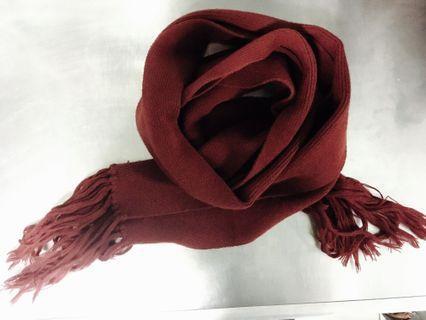 圍巾 針織 暗紅色 深紅色 全長232cm