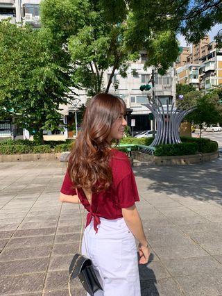 大露背五分袖上衣(紅 F)