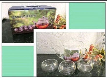 全新 耐熱玻璃泡茶組 玻璃泡茶冷熱水壺 玻璃沖泡器 泡茶壺 防燙玻璃杯身 泡茶組 沖茶器