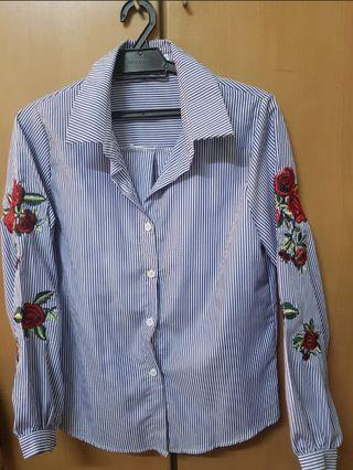 Embroidery Stripes Blouse