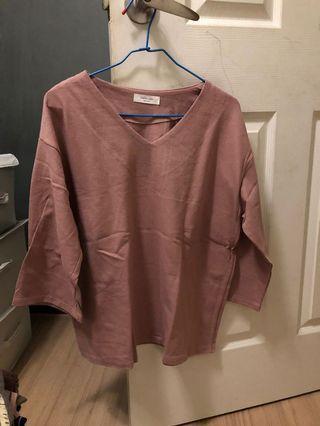 韓版粉色v領上衣
