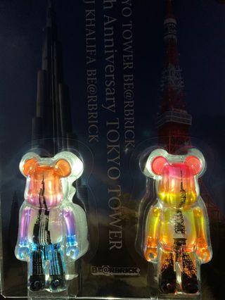 MEDICOM TOY BE@RBRICK 100% BURJ KHALIFA + TOKYO TOWER SET