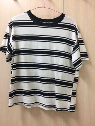 #剁手時尚 百搭黑白條紋短袖上衣