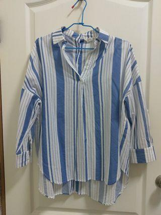NET藍色直條紋前短後長寬鬆上衣