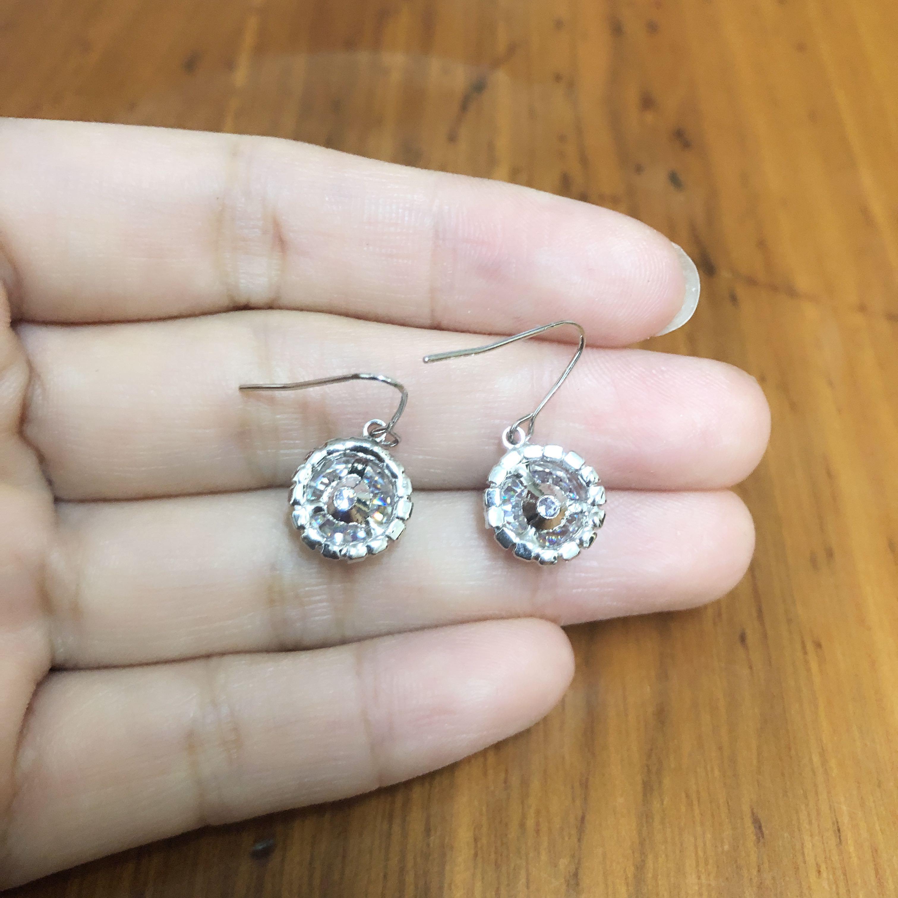 925純銀 玫瑰水晶耳環耳鈎earrings