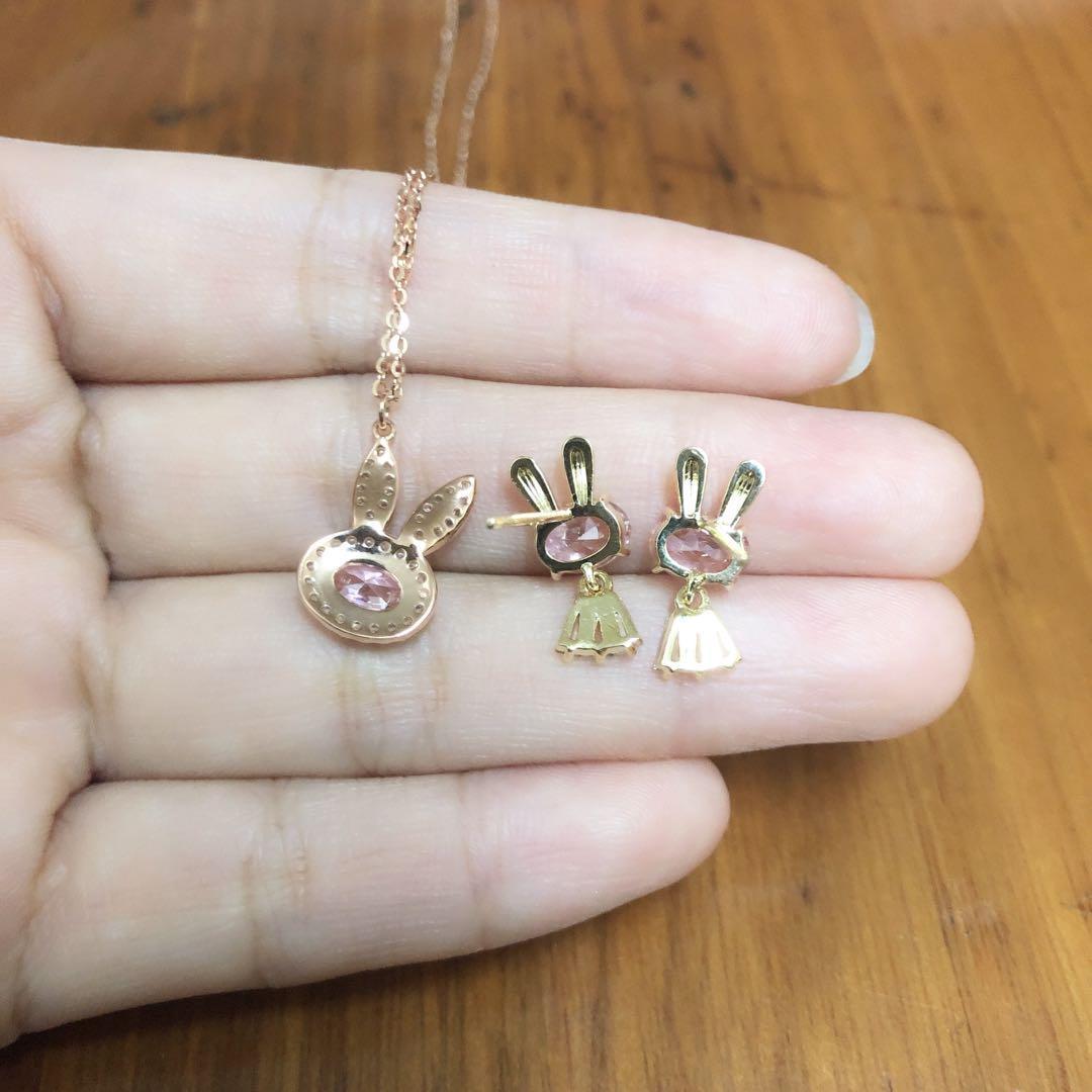 925純銀鍍金 粉晶兔頸鏈耳環耳釘necklace earrings