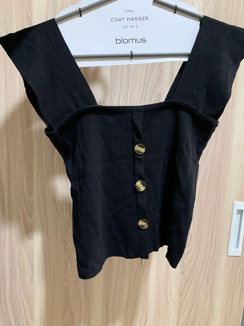 黑色針織平口背心 #五折清衣櫃
