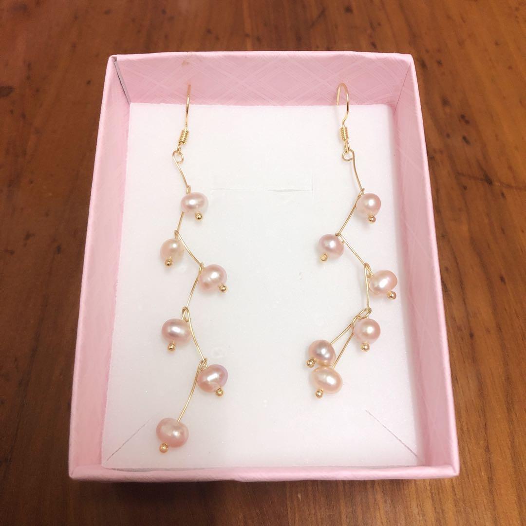 香檳色珍珠耳鈎耳環earrings
