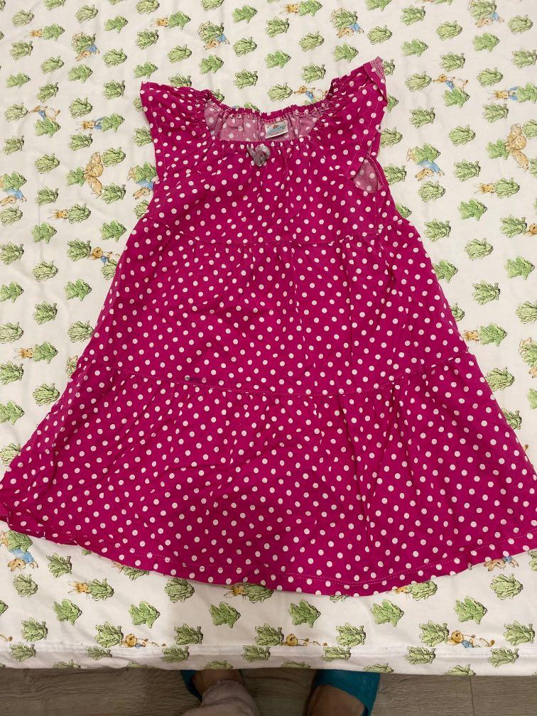 女童桃紅 點點洋裝