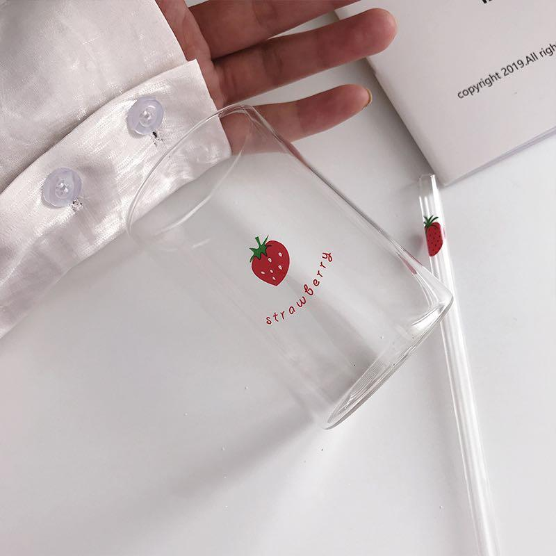 少女心草莓 牛奶杯 吸管杯 玻璃杯 耐高溫玻璃杯