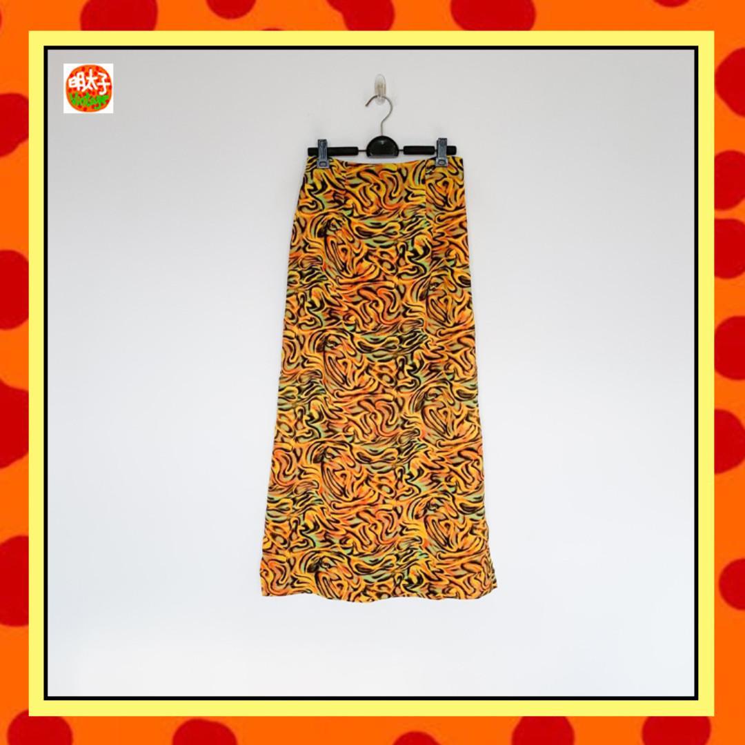 二手 橘黃 印花 高腰 長裙 明太子 B1017