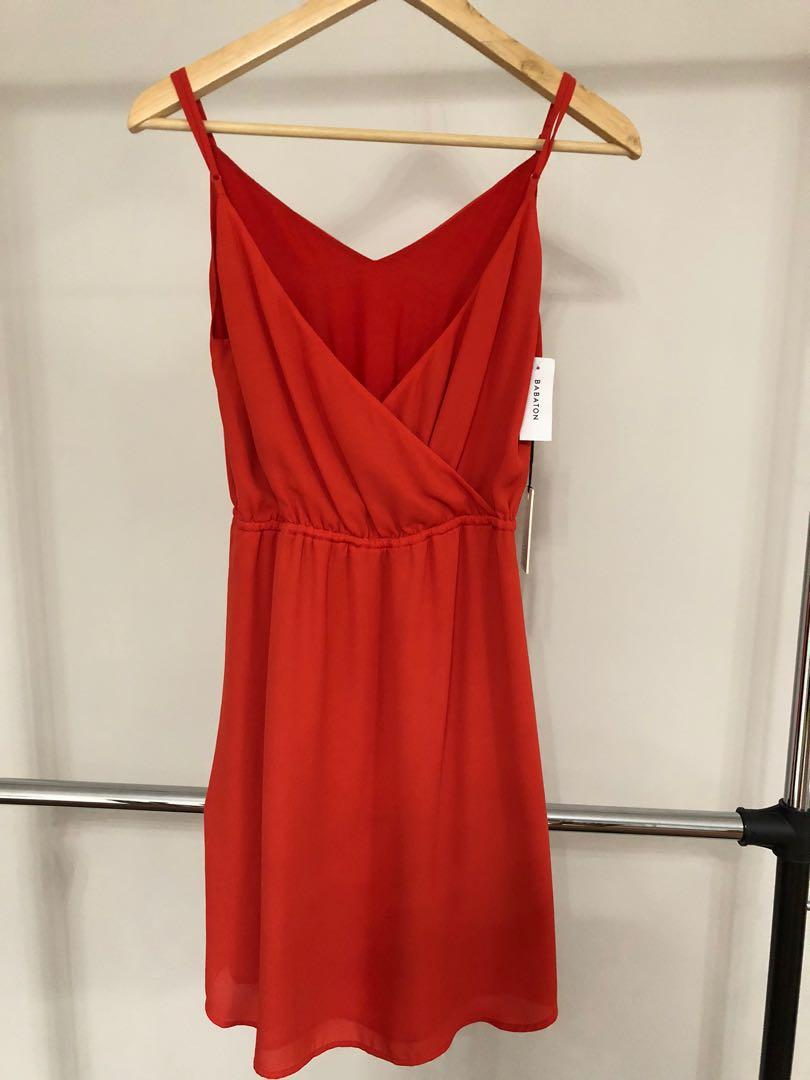 Aritzia Babaton Casimir Dress Flame Scarlet dress black