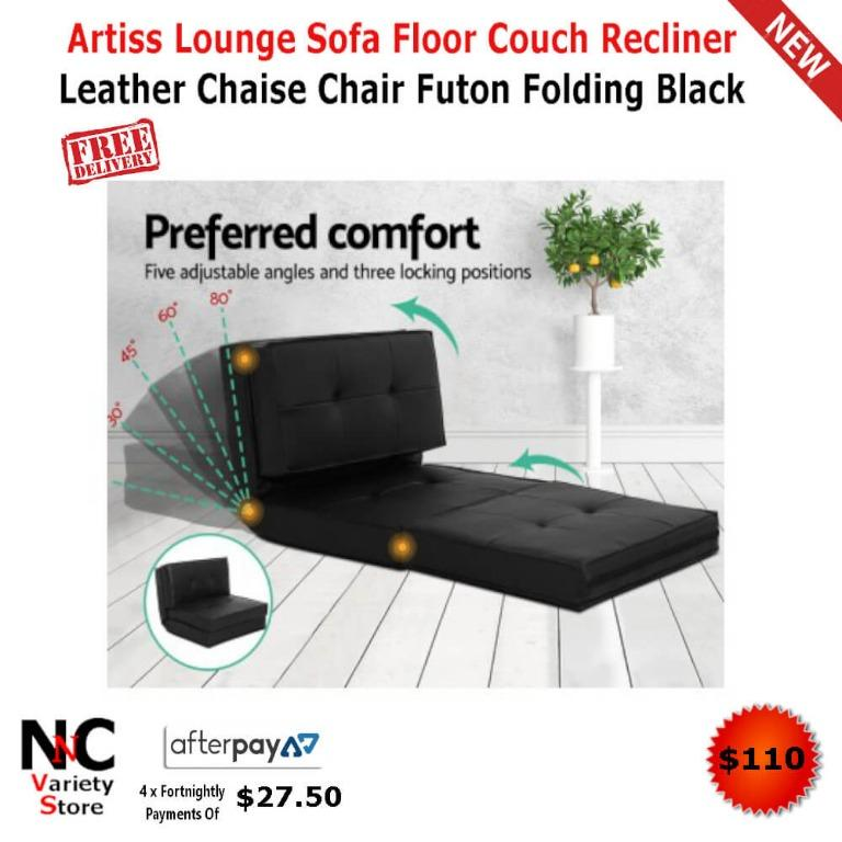 Artiss Lounge Sofa Floor Couch Recliner Leather Chaise Chair Futon Folding Black
