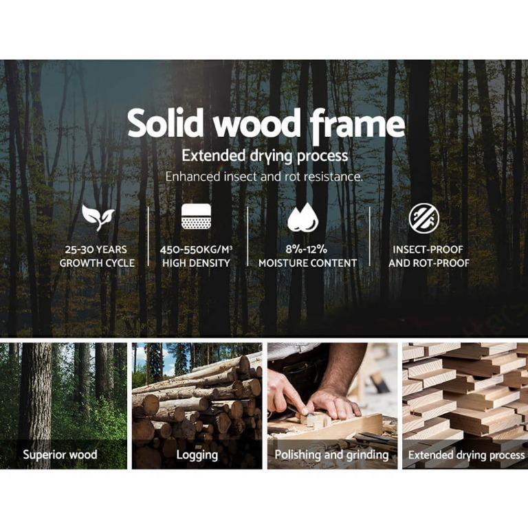 Artiss Single Size Bed Frame Base Mattress Platform Fabric Wooden Charcoal VAN
