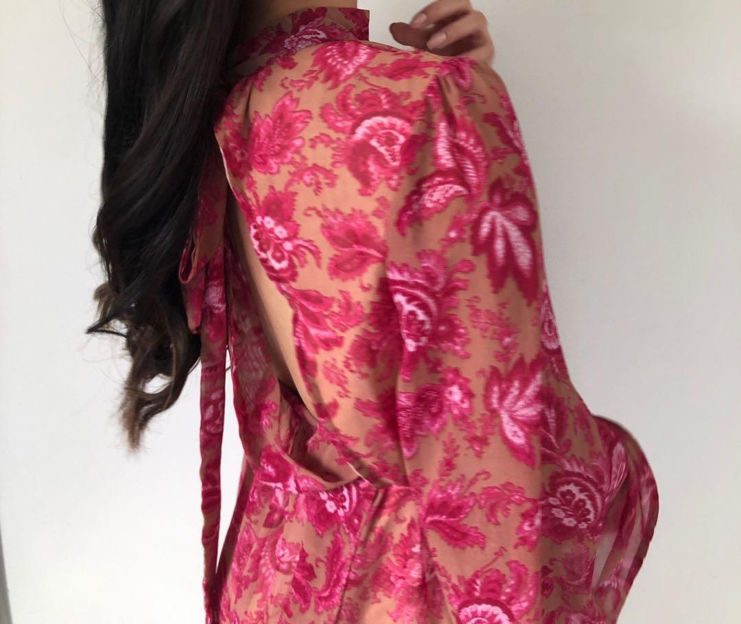 Backless Floral Pink Romper - Long Batwing Sleeves - S 8 10