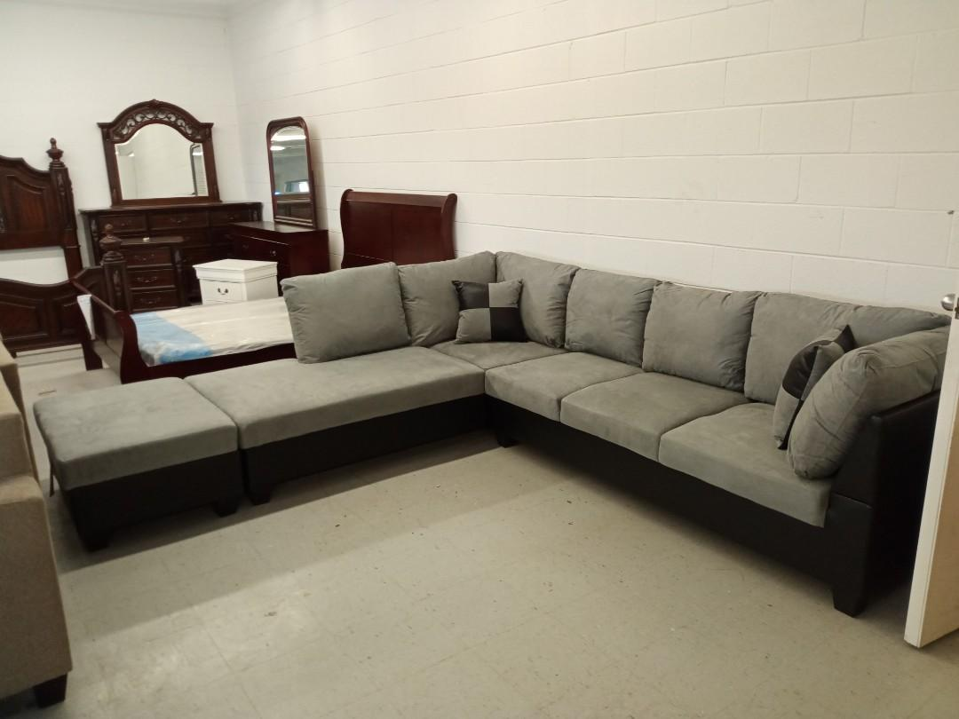 Brand new in Box Grey & Black sectional sofa with storage ottoman for $899