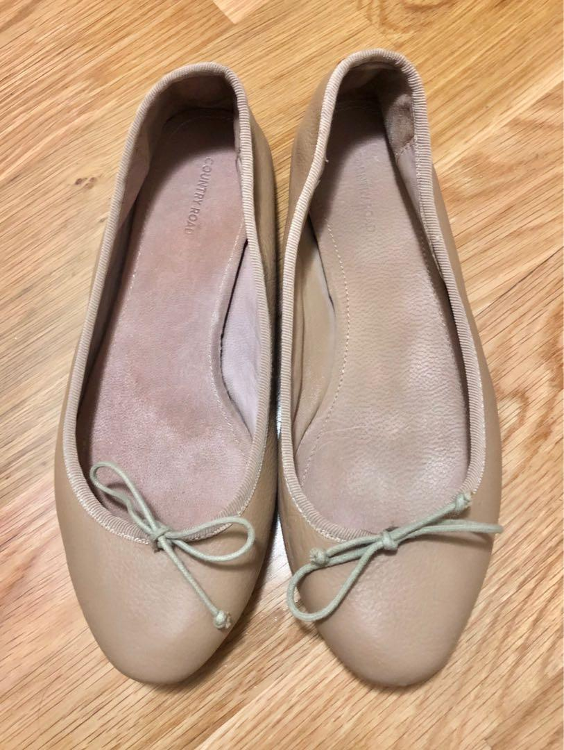 Country Road Claudia Ballet Flats (sz 37) Beige/Nude RRP: $100