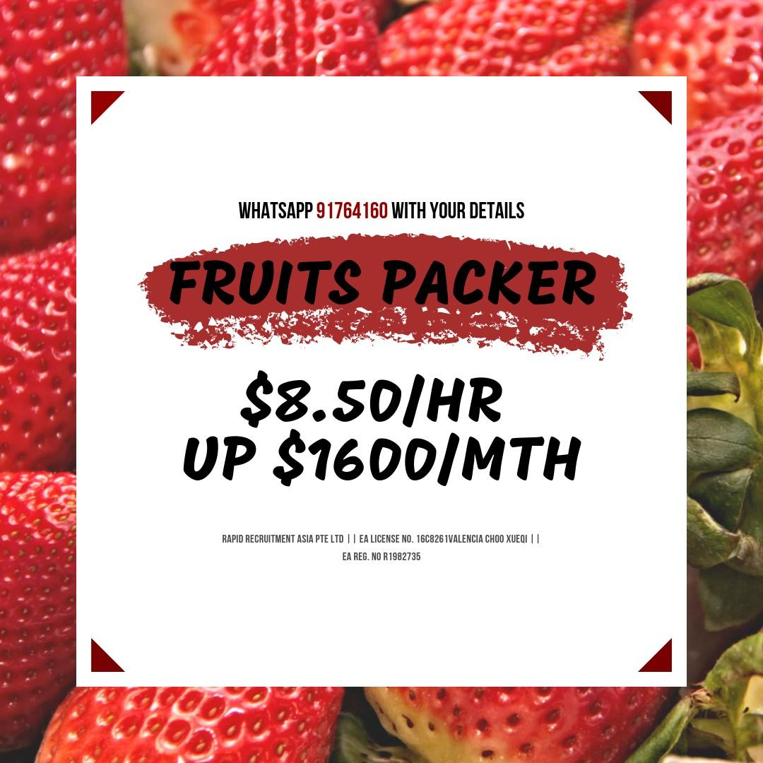 Fruits Packers - $8.50/hr or $1600/mth (West)