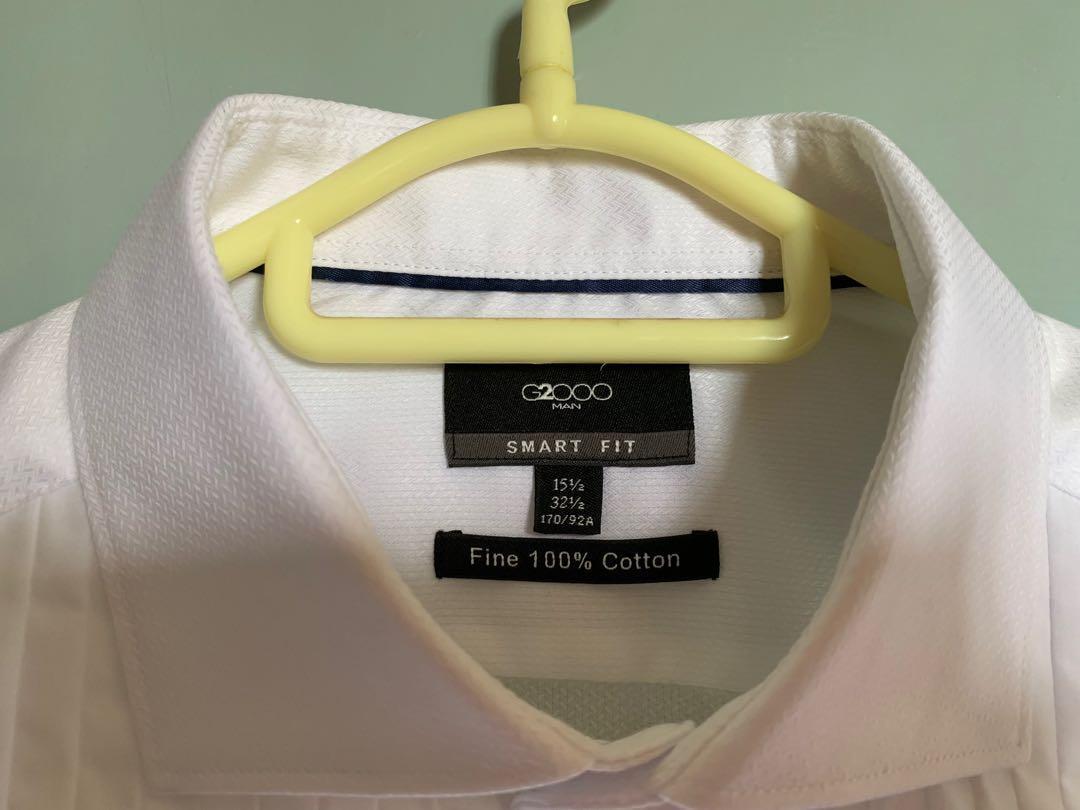 G2000 高級全棉前百摺白恤衫