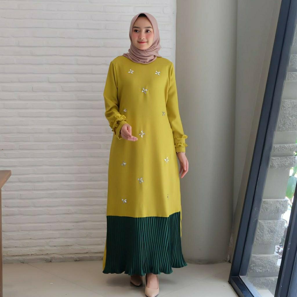 Gamis Simpel Gamis Aurel maxi dress dress hijab gamis plisket casual gamis simpel