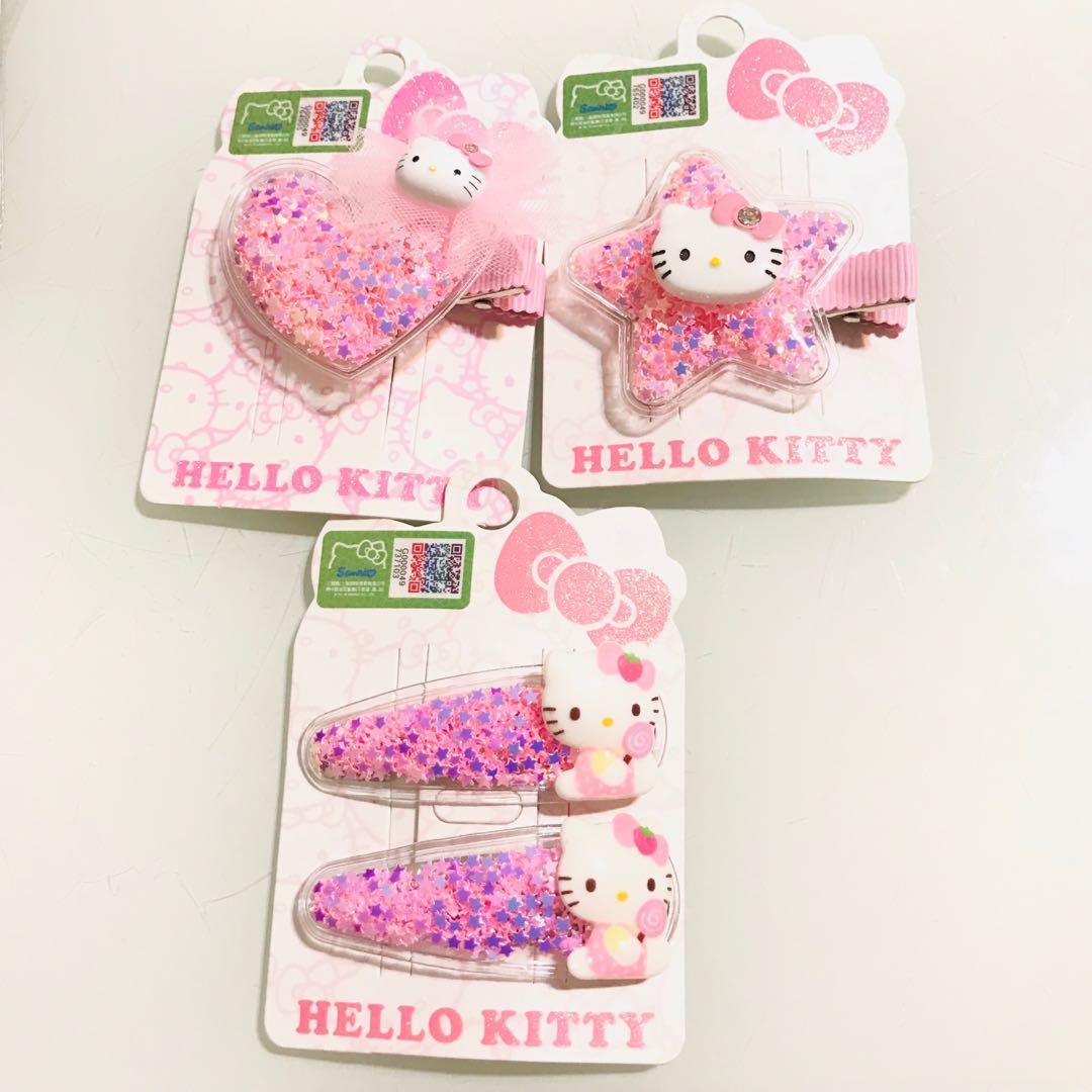 Hello Kitty Star Candy Hair Clips 閃星星碎片糖果公仔 兒童女孩髮夾兩