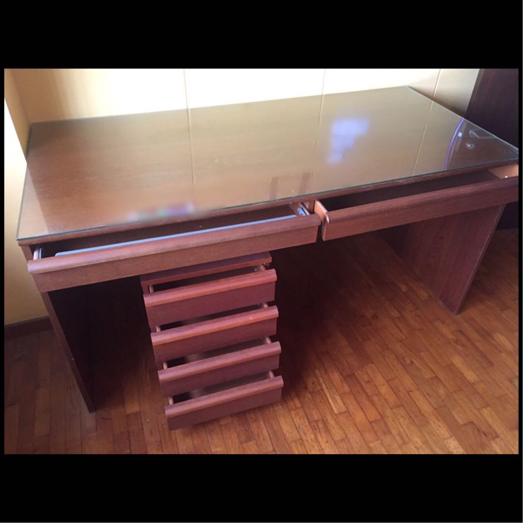 Ikea Study Table With Custom Made Glass Top Used Furniture Tables Chairs On Carousell