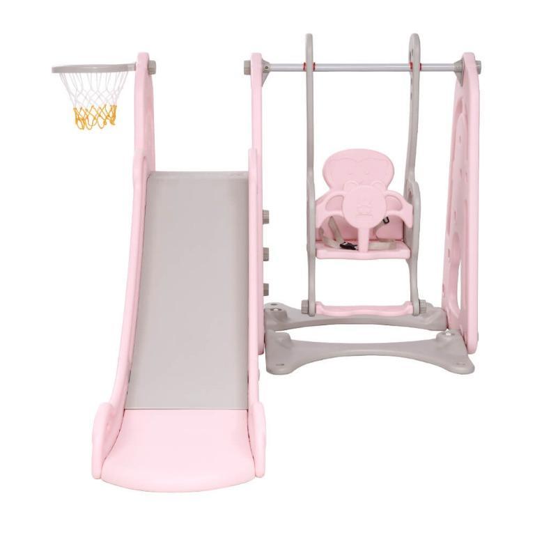 Keezi Kids Slide Swing Outdoor Indoor Playground Basketball Hoop Play Toddler Pink