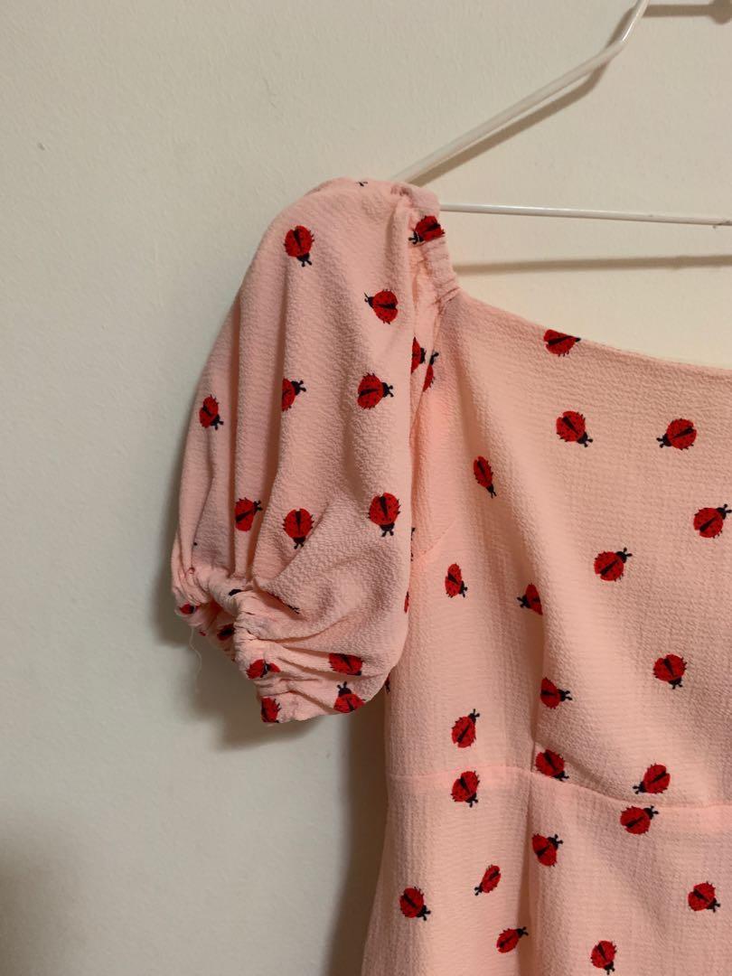 Lady Bug Pink Off Shoulder Dress