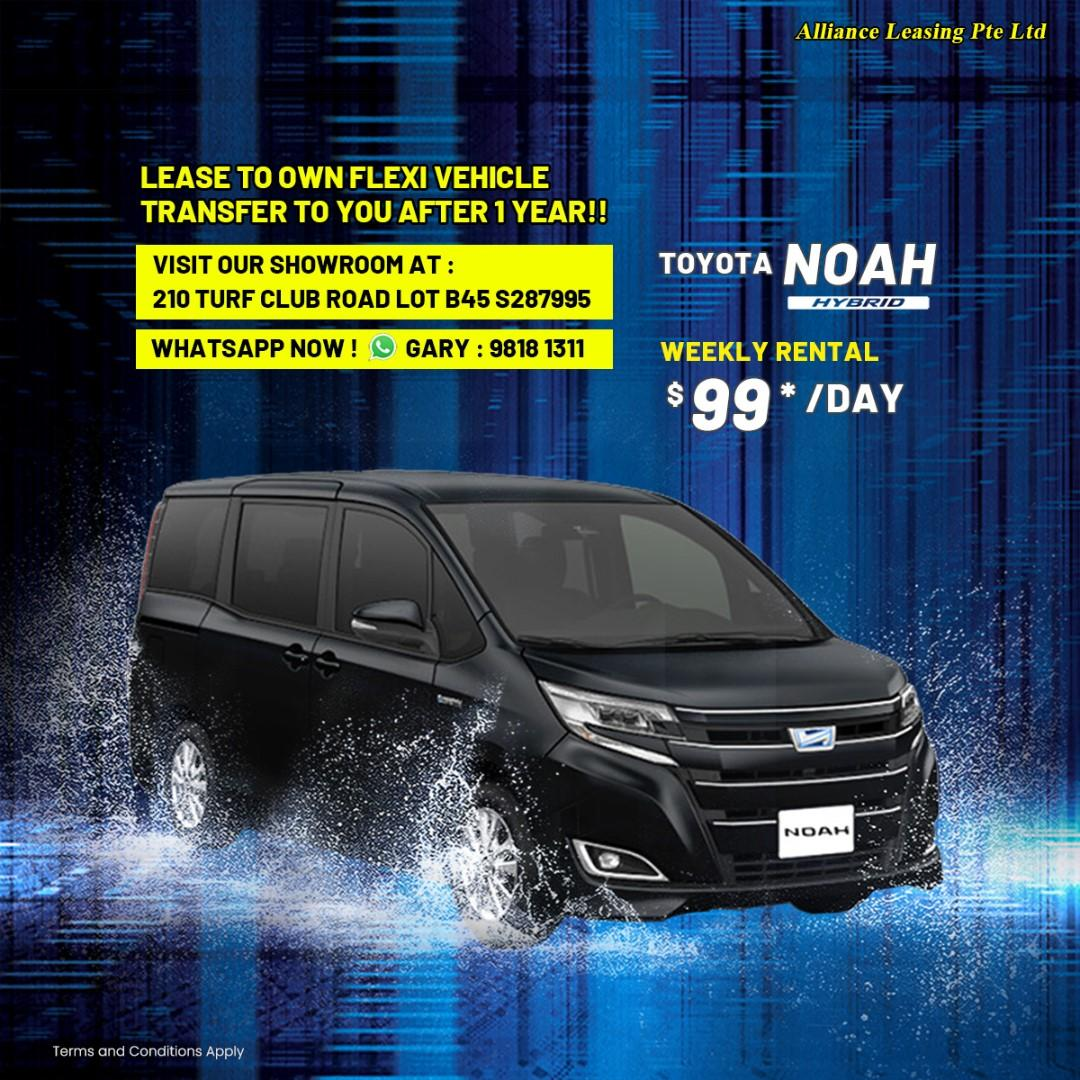 Lease to Own Flexi Toyota Noah Hybrid, Honda Freed Hybrid, Honda Shuttle Hybrid