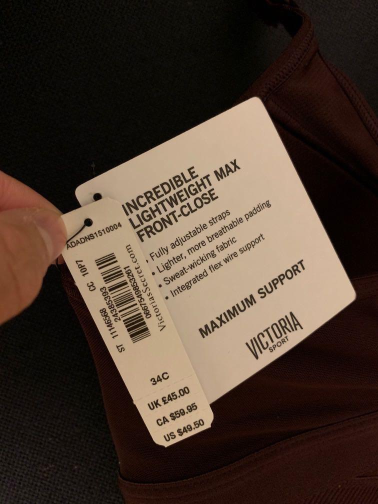 Lightweight max front close Victoria secret sports bra size 34C