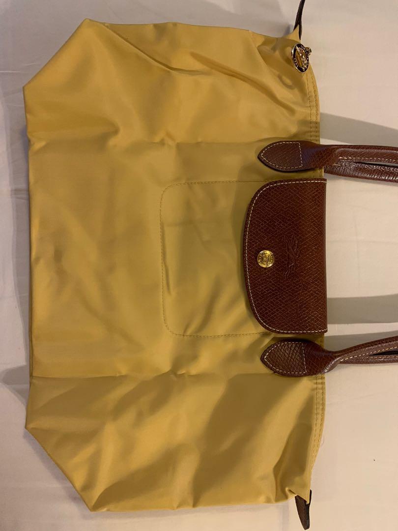 Longchamp 瓏驤/ 水餃肩背包/黃色/長柄 M