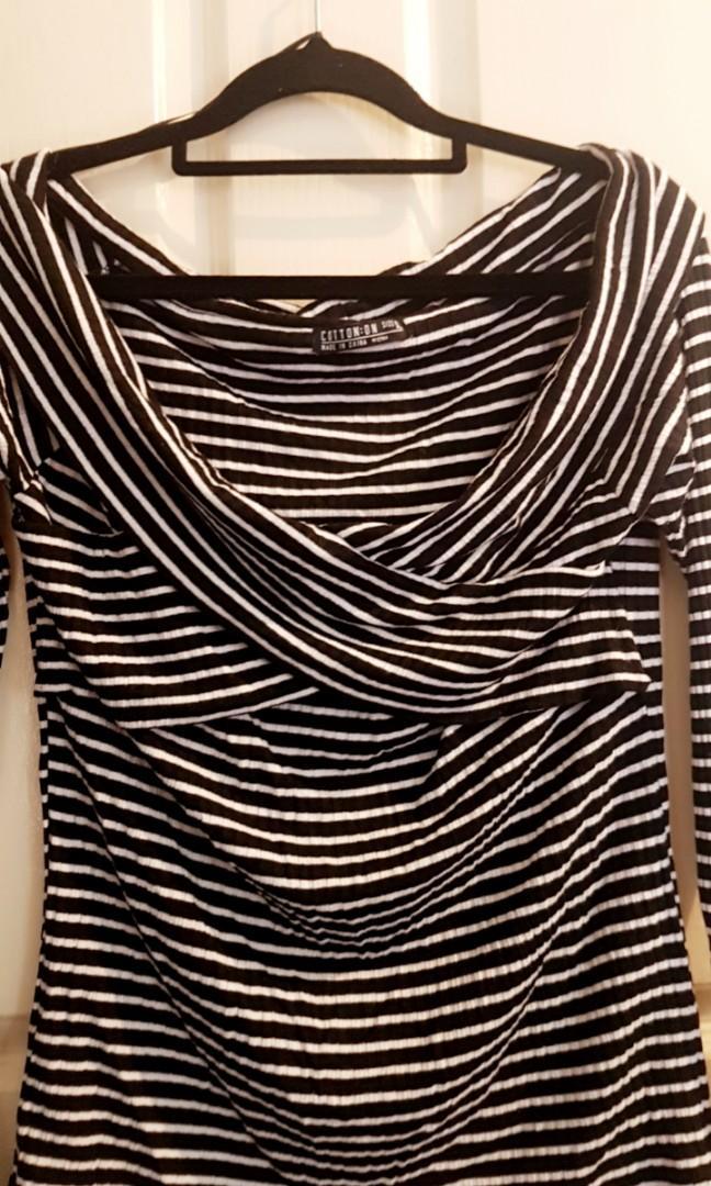 Off the shoulder stripe top
