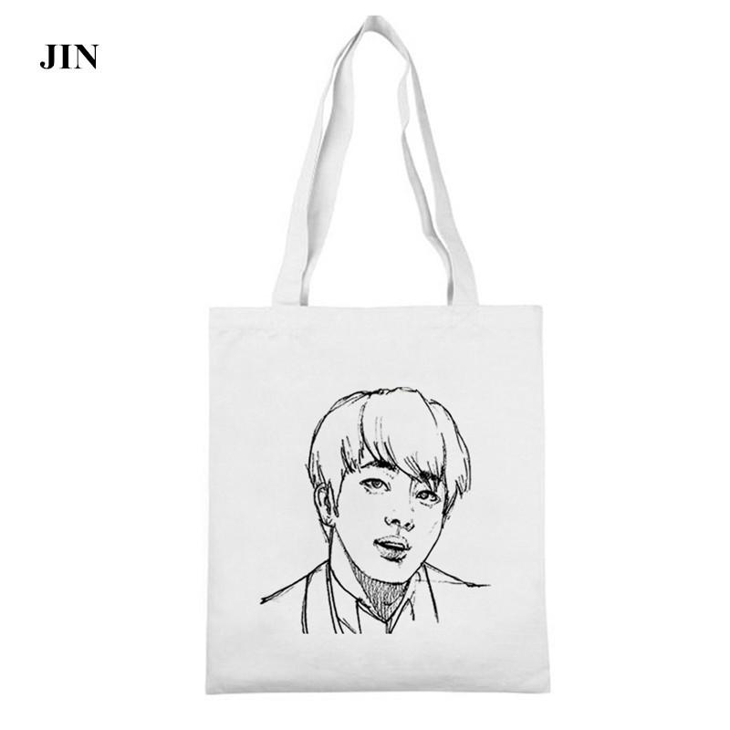 PREORDER ✔📥 BTS SKETCH HAND-PAINTED PORTRAIT CANVAS SHOULDER BAG