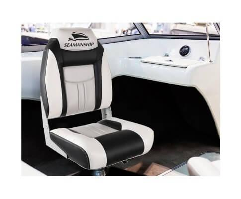 Seamanship Set of 2 Folding Swivel Boat Seats – Grey & Black