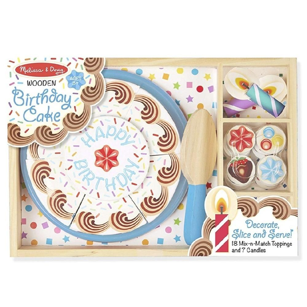 💰STEAL💰Melissa & Doug Birthday Party Cake - Wooden Play Food With Mix-n-Match Toppings and 7 Candles